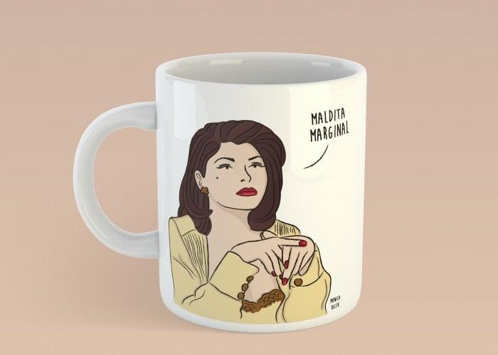 taza de caricatura de mujer