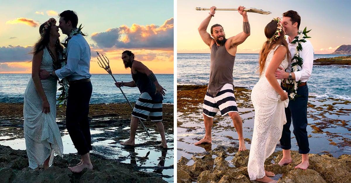 Jason Momoa se coló en sesión fotográfica de pareja recién casada