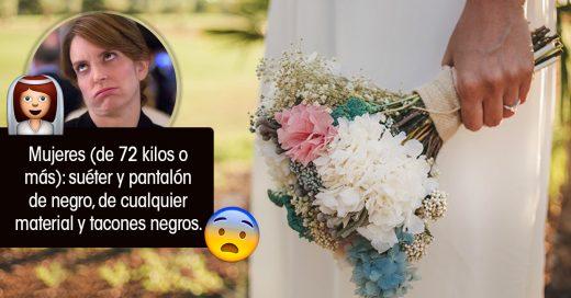 Novia exige que sus invitados de talla grande solo usen negro y camuflaje en su boda