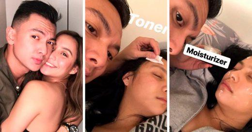 Se quedó dormida tras una noche de fiesta y su novio se encargó de su rutina de belleza