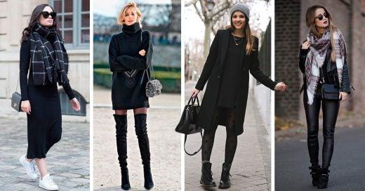 15 Outfits con negro para brillar este invierno 2018.