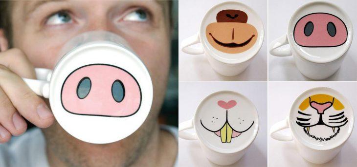 taza con nariz de cochino animales