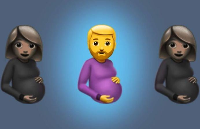 Emojis con figura de hombre embarazado y barba