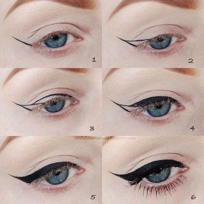 mujer con delineado de ojo de gato
