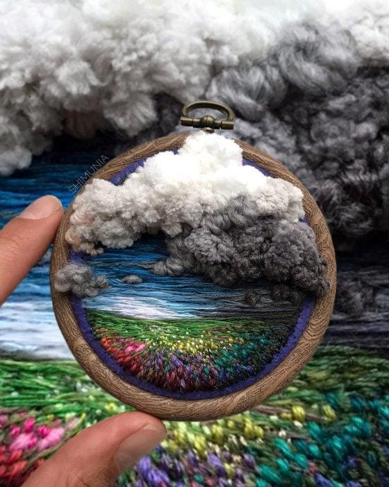Artista rusa, Vera Shimunia, borda increíbles mini paisajes con estambre y aguja