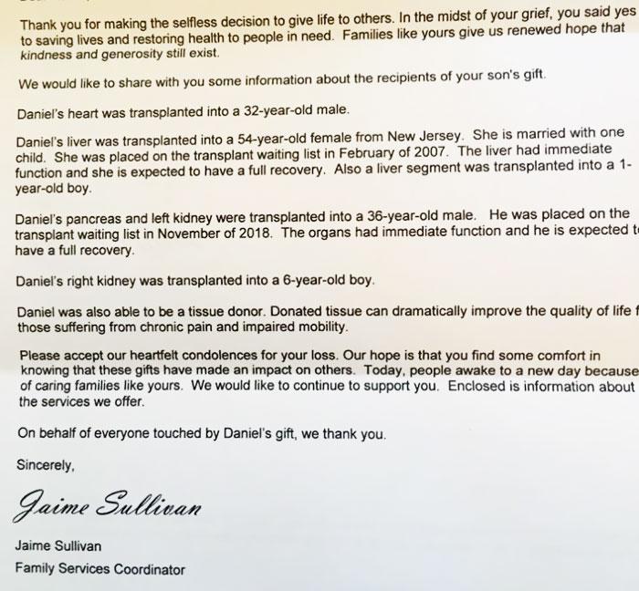 Carta de las personas que recibieron los órganos de un donante