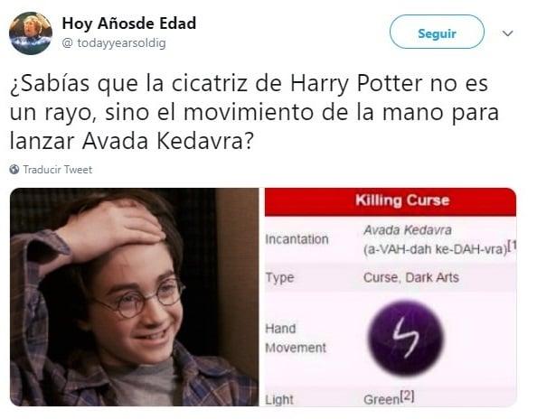 Tuit sobre Harry Potter