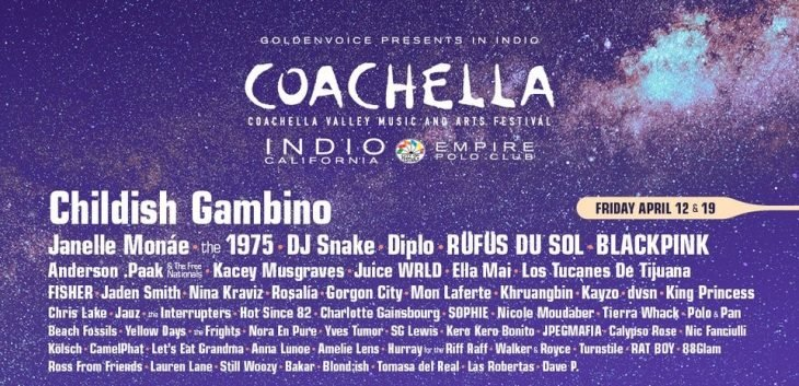poster con artistas de festival coachella blackpink