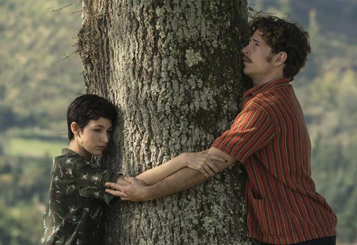 pareja abrazando un árbol