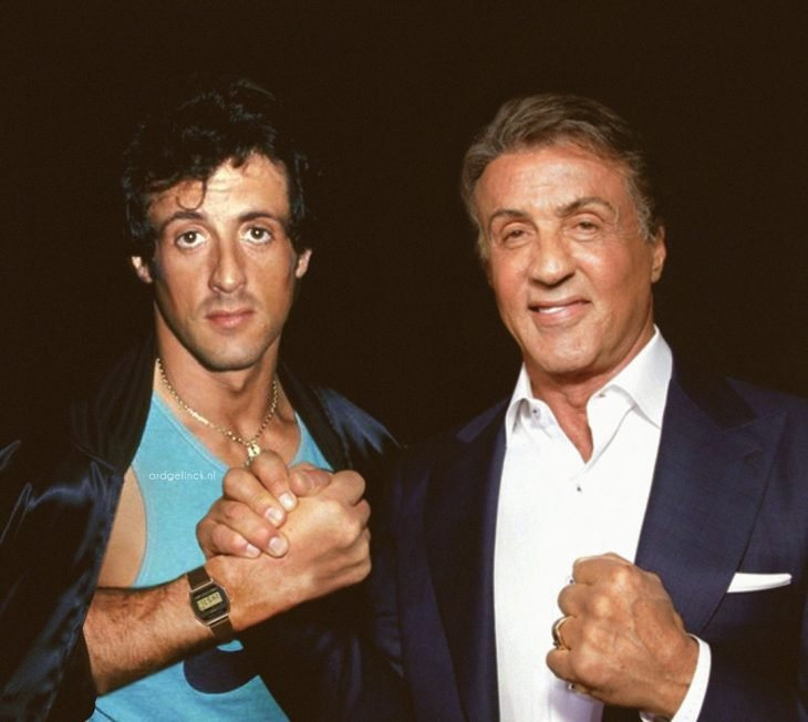 Photoshop de famosos antes y después, Sylvester Stallone