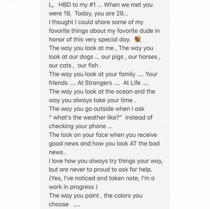 Carta que le escribió Miley a Liam por su cumpleaños
