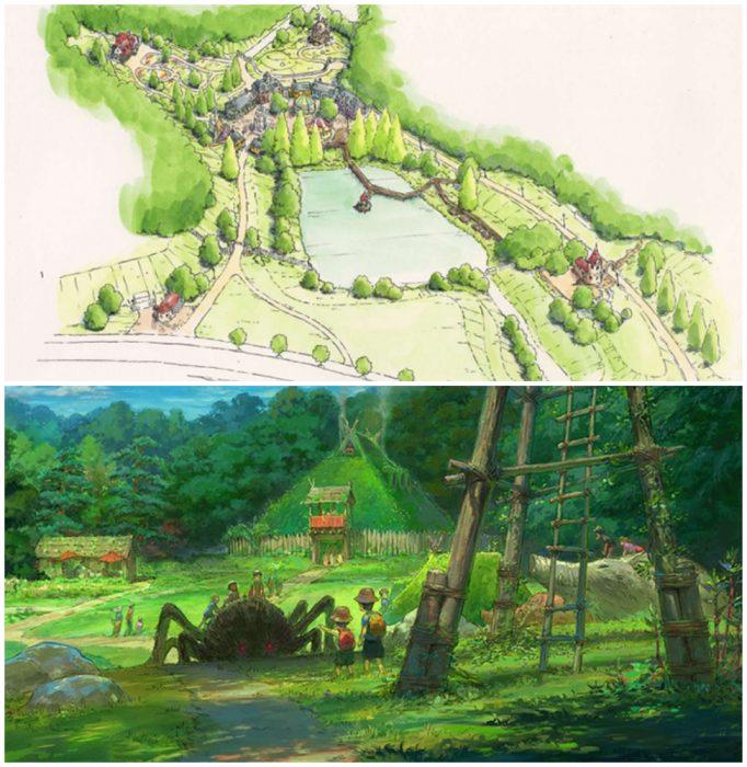 dibujo de un jardín enorme