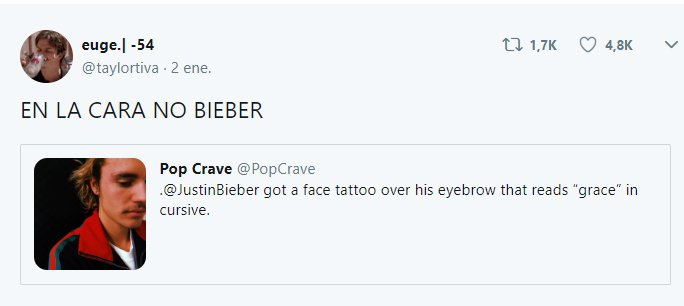 Comentarios en Twitter sobre el nuevo tatuaje de bieber