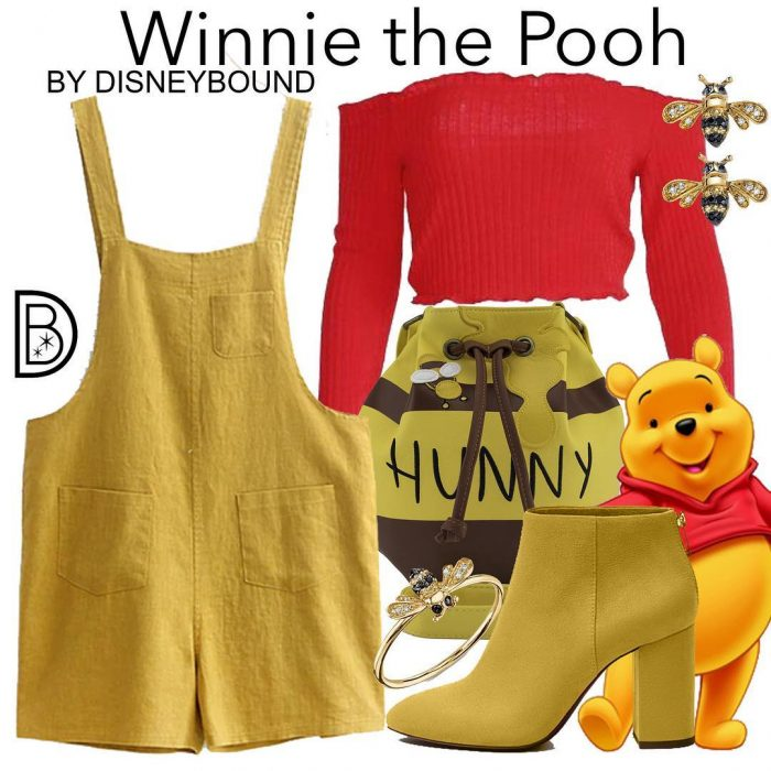 Outfits inspirados en Winnie Pooh de Disney, crop top rojo, jumper amarillo, botines amarillos y backpack en forma de bote de miel