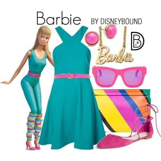 Outfits inspirados en Barbie de Toy Story Disney, vestido verde aqua, lentes, aretes y zapatos rosas, dije de barbie
