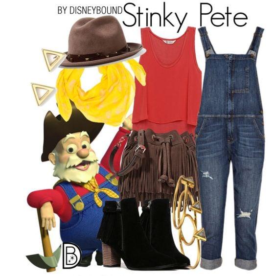 Outfits inspirados en Stinky Pete de Toy Story Disney, overol de mezclilla, blusa roja, botines negros, bolsa y zombrero café y mascada amarilla