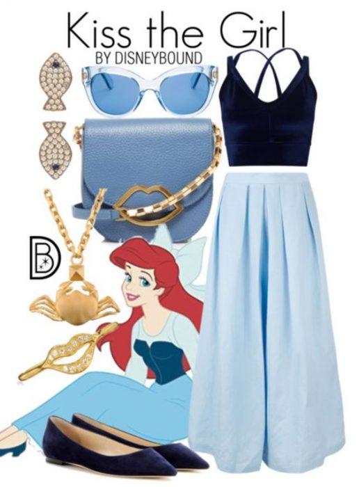 Outfits inspirados en la Sirenita de Disney, falda y bolsa azules, lentes transparentes, top azul marino y zapatos negros