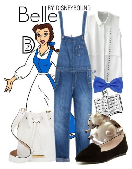 Outfits inspirados en Bella de Disney, blusa blanca, overol, moño azul, zapatos negros y bolsa blanca