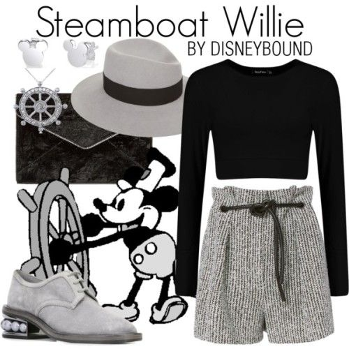 Outfits inspirados en Mickey Mouse de Disney, short gris, crop top negro, zapatos y sombrero gris