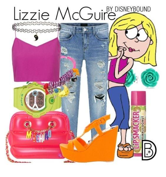 Outfits inspirados en Lizzie McGuire de Disney, pantalón de mezclilla, top rosa, reloj verde neón, plataformas naranja
