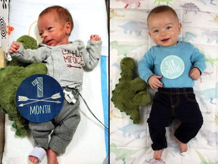 Padre photoshopea fotografías de su bebé prematuro haciendo cosas de hombres