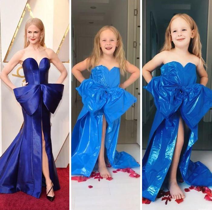 Mamá e hija recrean fotos de famosas en la alfombra roja