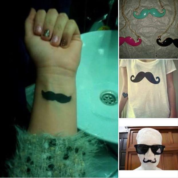 bigotes con lentes y tatuaje y bigote