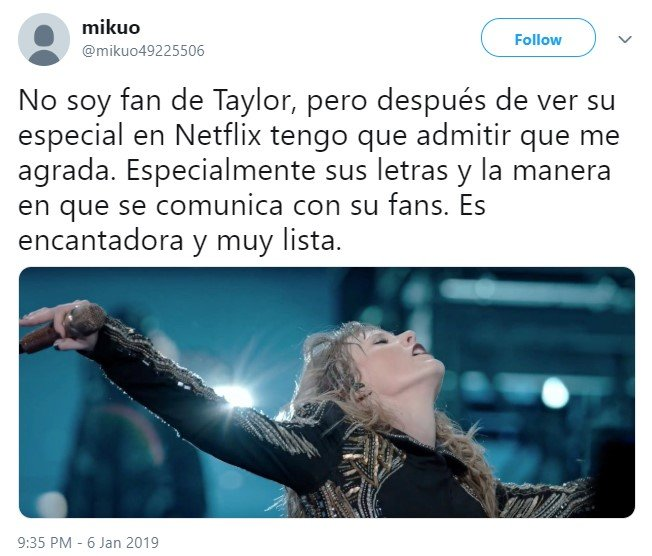 La gente se arrepiente de odiar a Taylor Swift después de ver su especial en Netflix, Reputation Tour