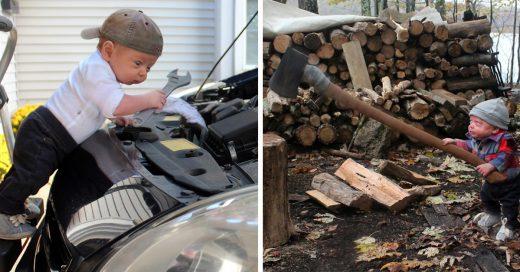 Papá photoshopea a su hijo prematuro haciendo cosas de adulto