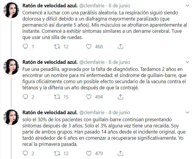 Comentarios en twitter sobre chica que sufrió por una vacuna y envía mensaje antivacuna
