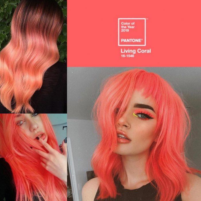 mujeres con cabello color coral naranja rosa
