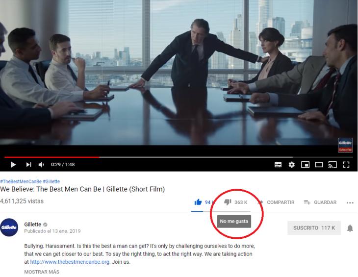 hombres en sala de reunión junto a mujer captura de pantalla likes