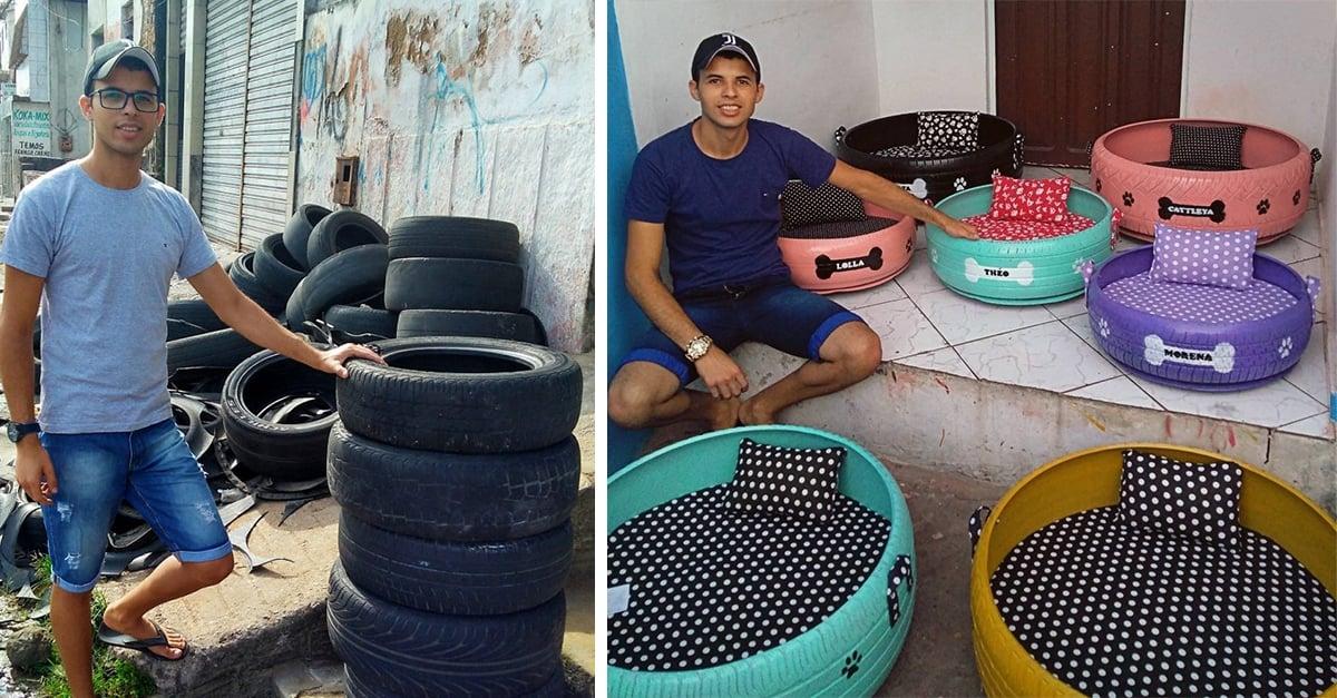 Transforma neumáticos en camas para mascotas; genera dinero y crea impacto ecológico