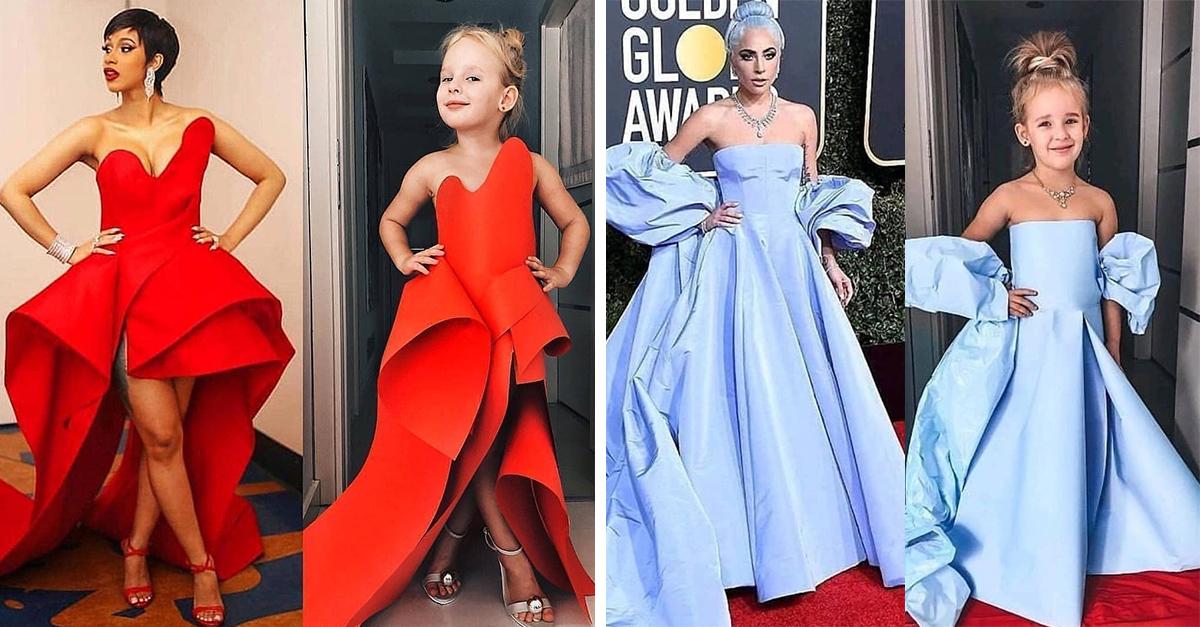 Mamá e hija recrean los vestidos de las famosas en la alfombra roja