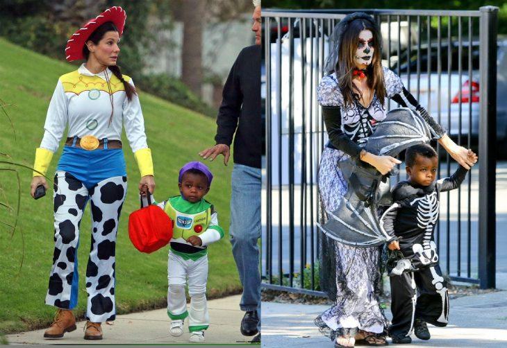 mujer con disfraz de toy story y bruja con niño