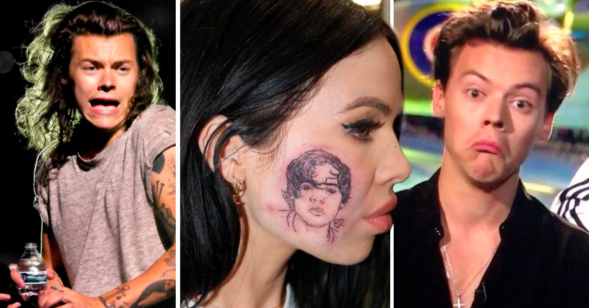 Esta chica se tatuó el rostro de Harry Styles en su mejilla