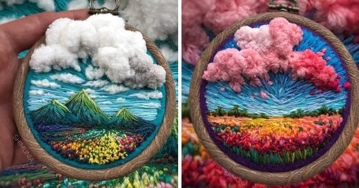 Artista rusa crea hipnotizantes paisajes miniatura con hilo y aguja