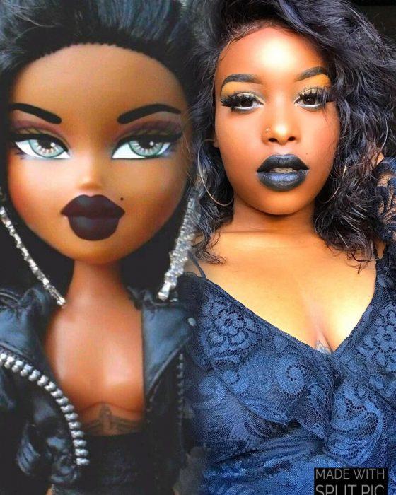 mujer morena maquillaje muñeca bratz