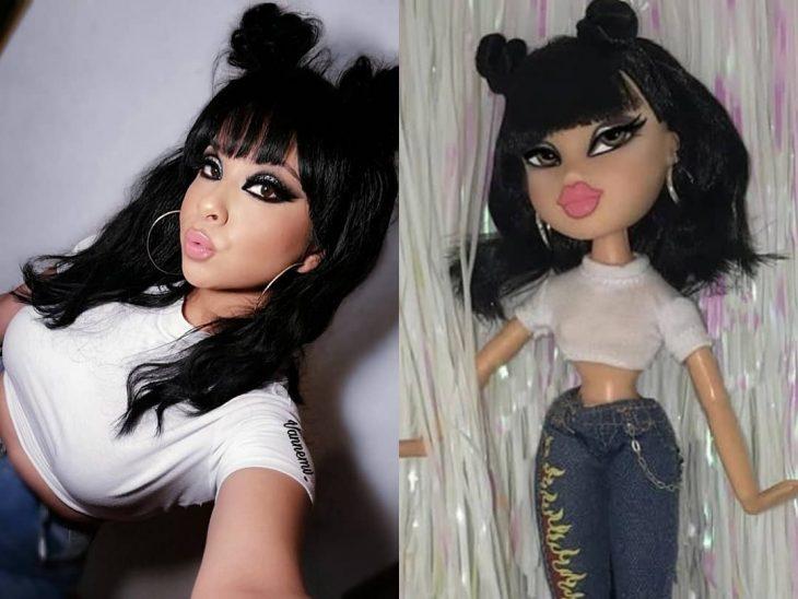mujer muñeca bratz cabello largo negro y maquillaje