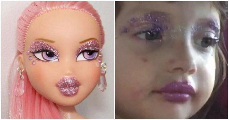 mujer muñeca bratz brillos glitter maquillaje