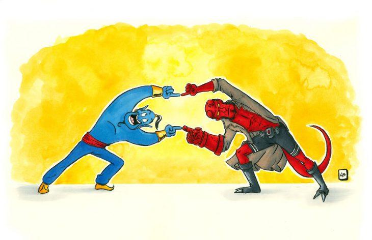 Personajes de ilustración que hacen la fusión de Dragon Ball Z