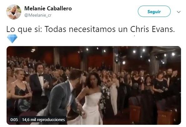 tuit sobre Chris Evans en los Oscares 2019