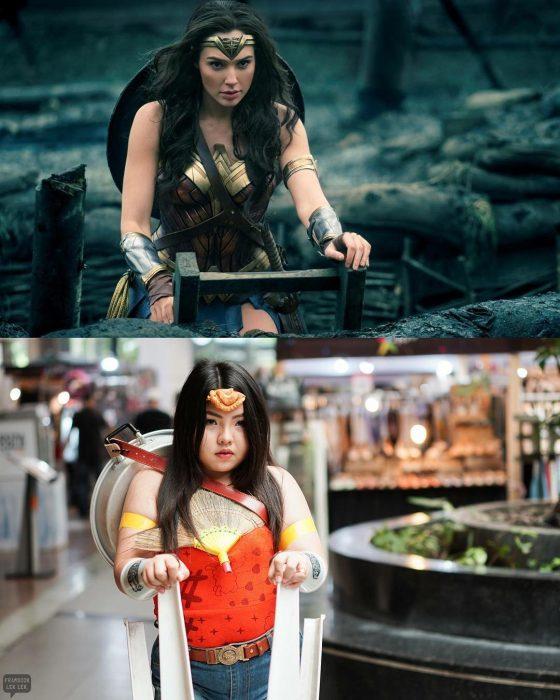 Chica tailandesa hace cosplays baratos con comida