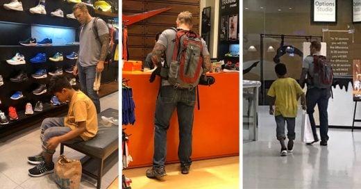 Turista lleva a un niño de la calle a comprar zapatos y comida