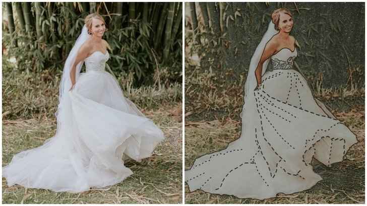 chica usando vestido de novia blanco