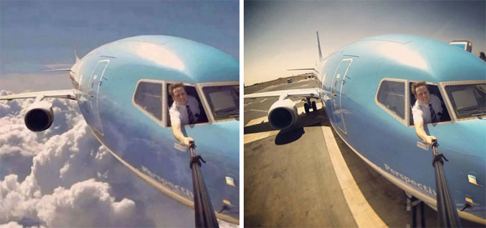 hombre tomando una selfie dentro de un avion