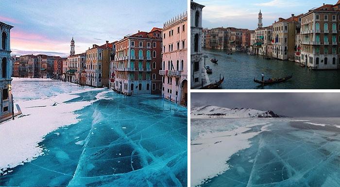 La ciudad de Venecia congelada