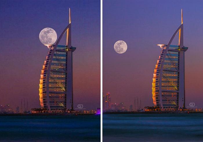 luna sobre el cielo rojo