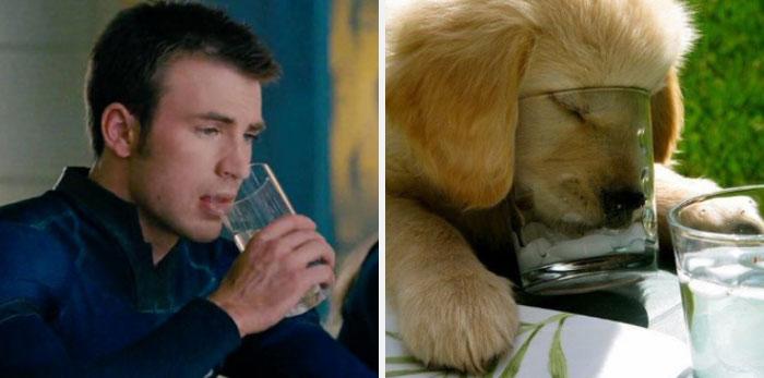 chico bebiendo agua cristalina