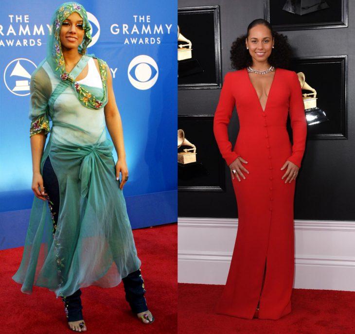 Cuánto cambiaron las celebridades en su primer y último Grammy, Alicia Keys
